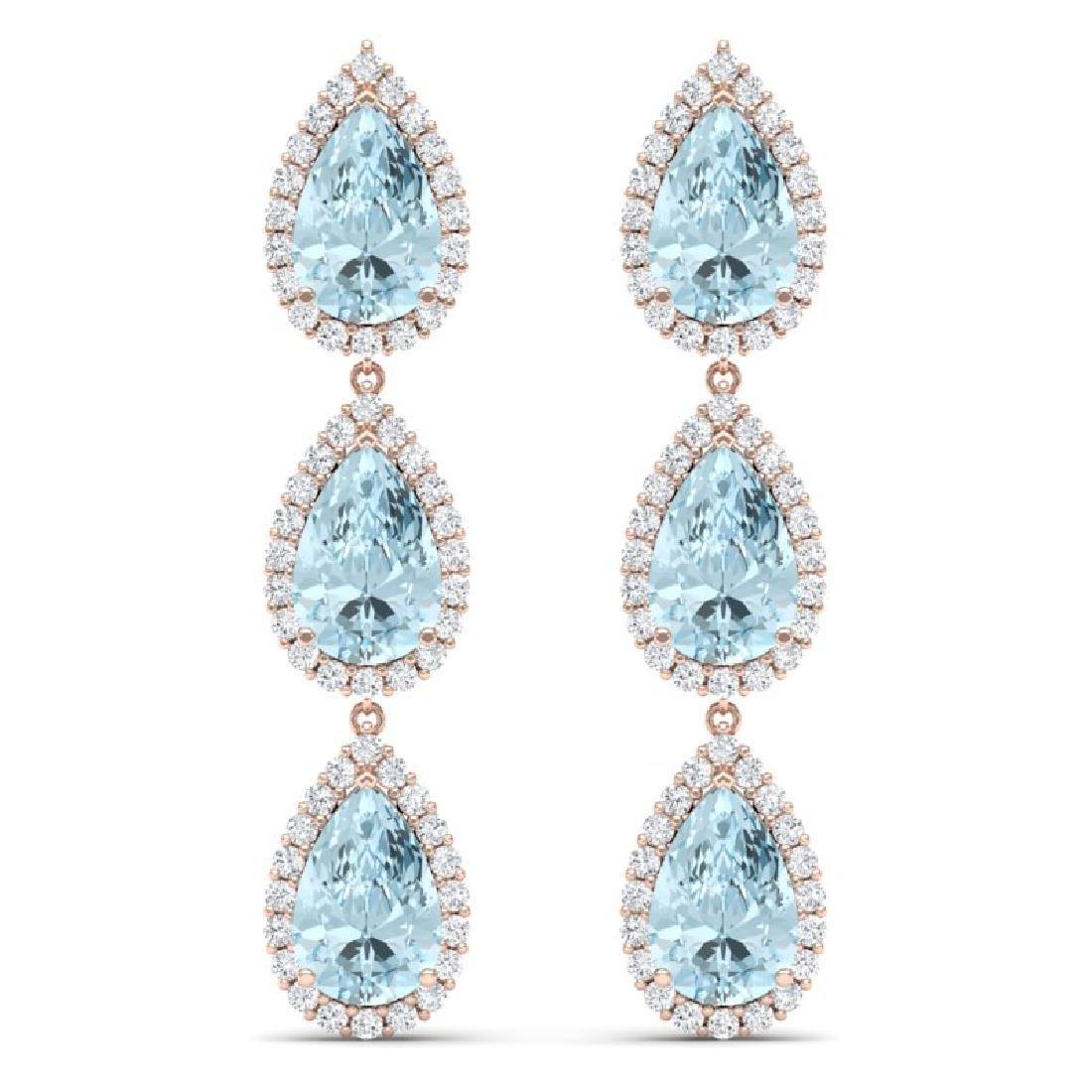 27.3 CTW Royalty Sky Topaz & VS Diamond Earrings 18K