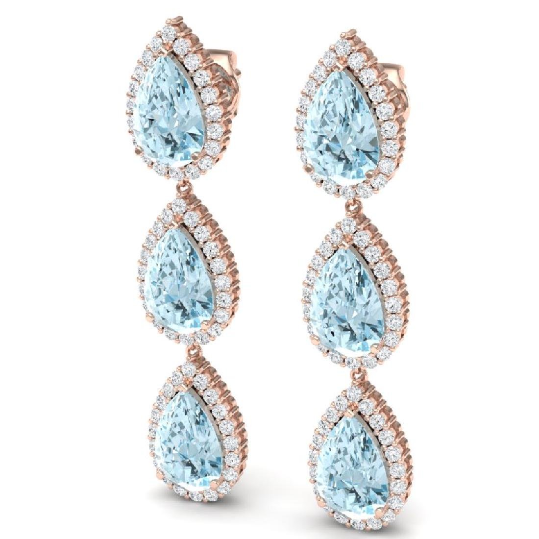 27.3 CTW Royalty Sky Topaz & VS Diamond Earrings 18K - 2