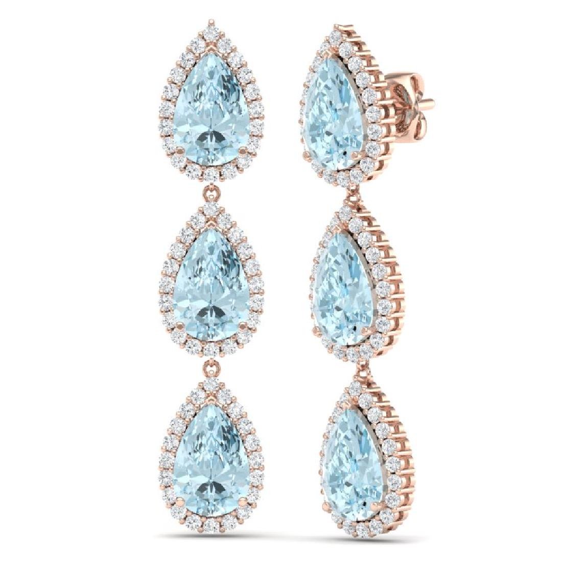 27.3 CTW Royalty Sky Topaz & VS Diamond Earrings 18K - 3