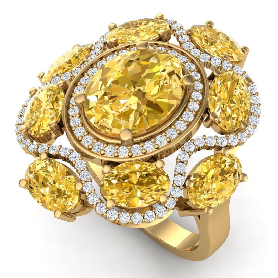 7.68 CTW Royalty Canary Citrine & VS Diamond Ring 18K