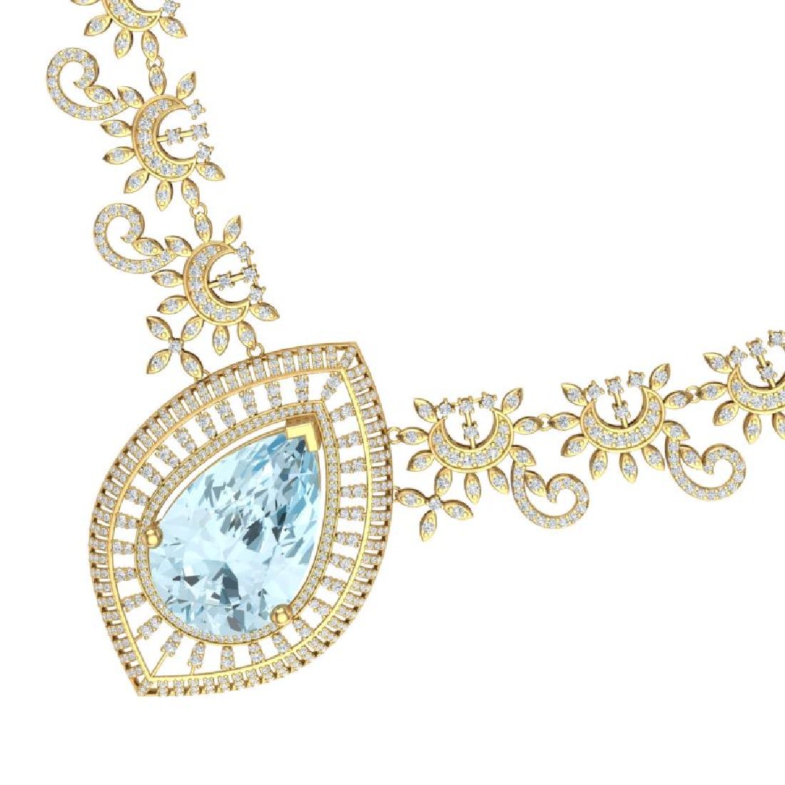 68.1 CTW Royalty Sky Topaz & VS Diamond Necklace 18K
