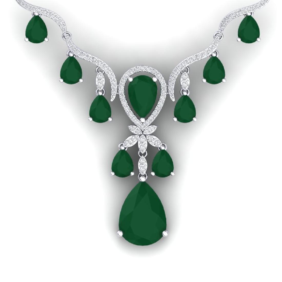 36.14 CTW Royalty Emerald & VS Diamond Necklace 18K