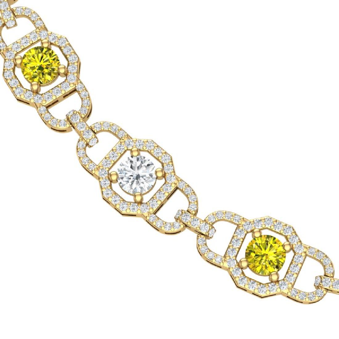 25 CTW SI/I Fancy Yellow And White Diamond Necklace 18K - 2
