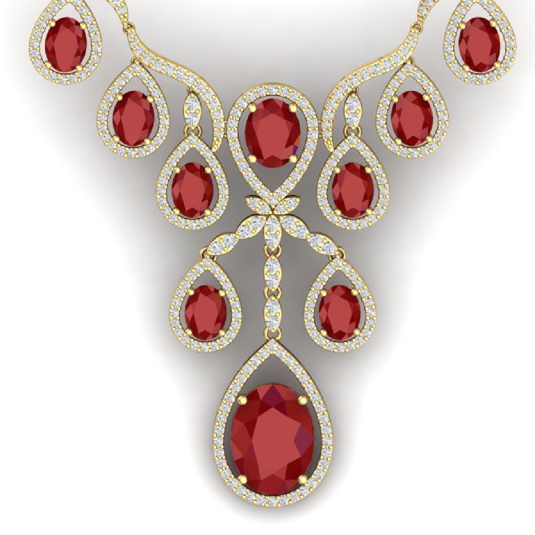 37.66 CTW Royalty Ruby & VS Diamond Necklace 18K Yellow
