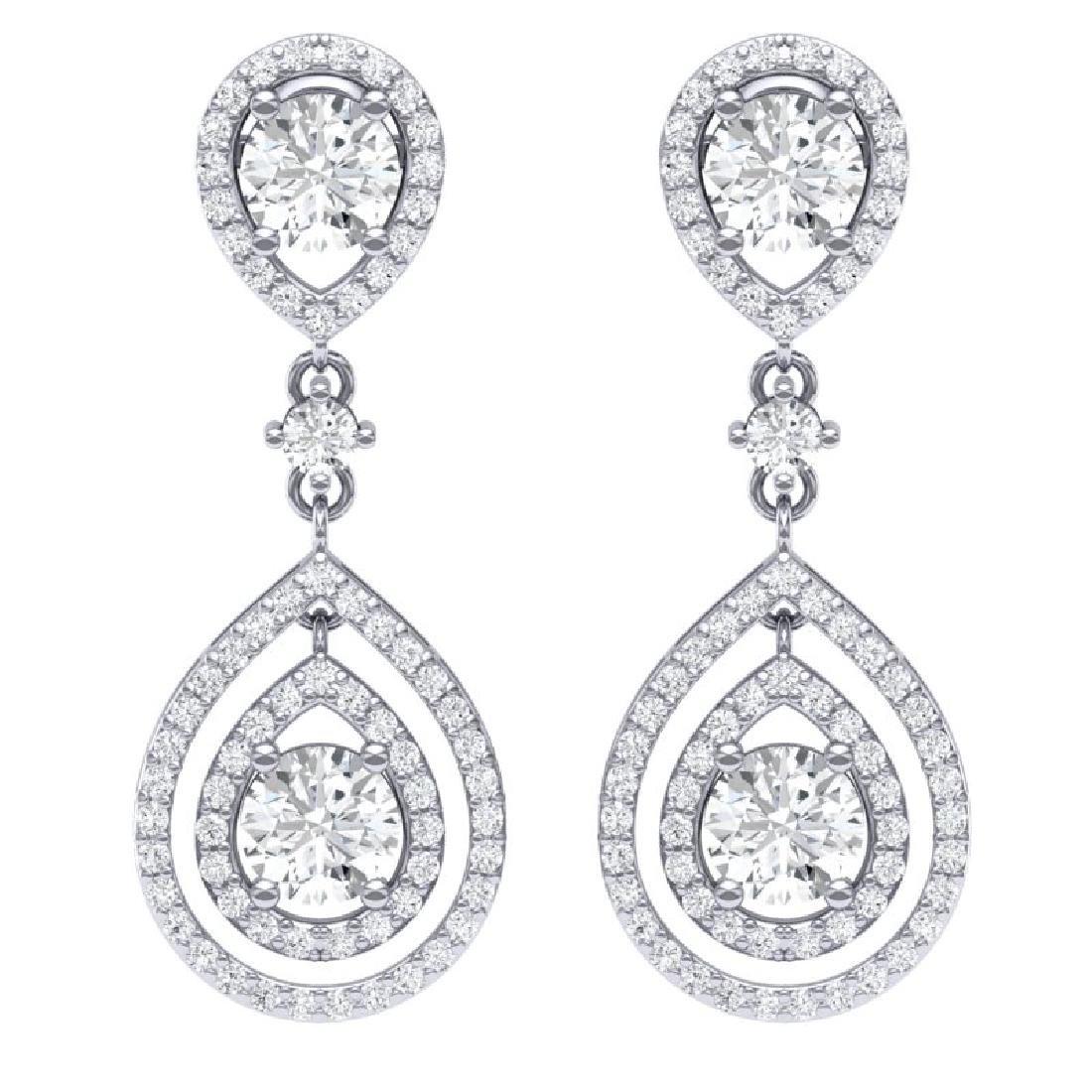 3.53 CTW Royalty Designer VS/SI Diamond Earrings 18K