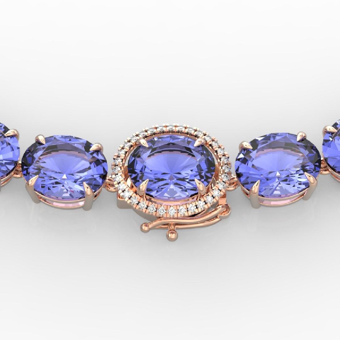 170 CTW Tanzanite & VS/SI Diamond Necklace 14K Rose