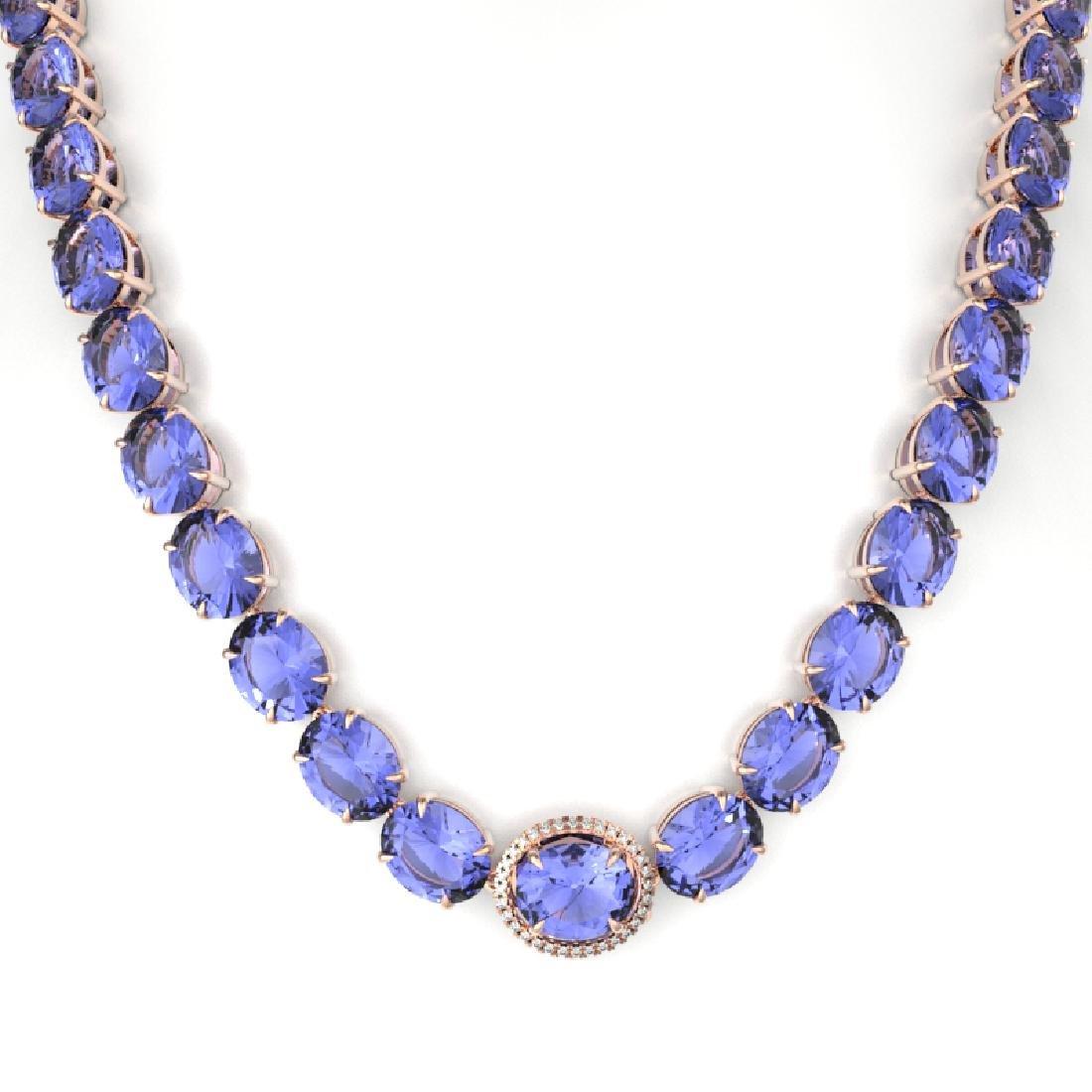 170 CTW Tanzanite & VS/SI Diamond Necklace 14K Rose - 2