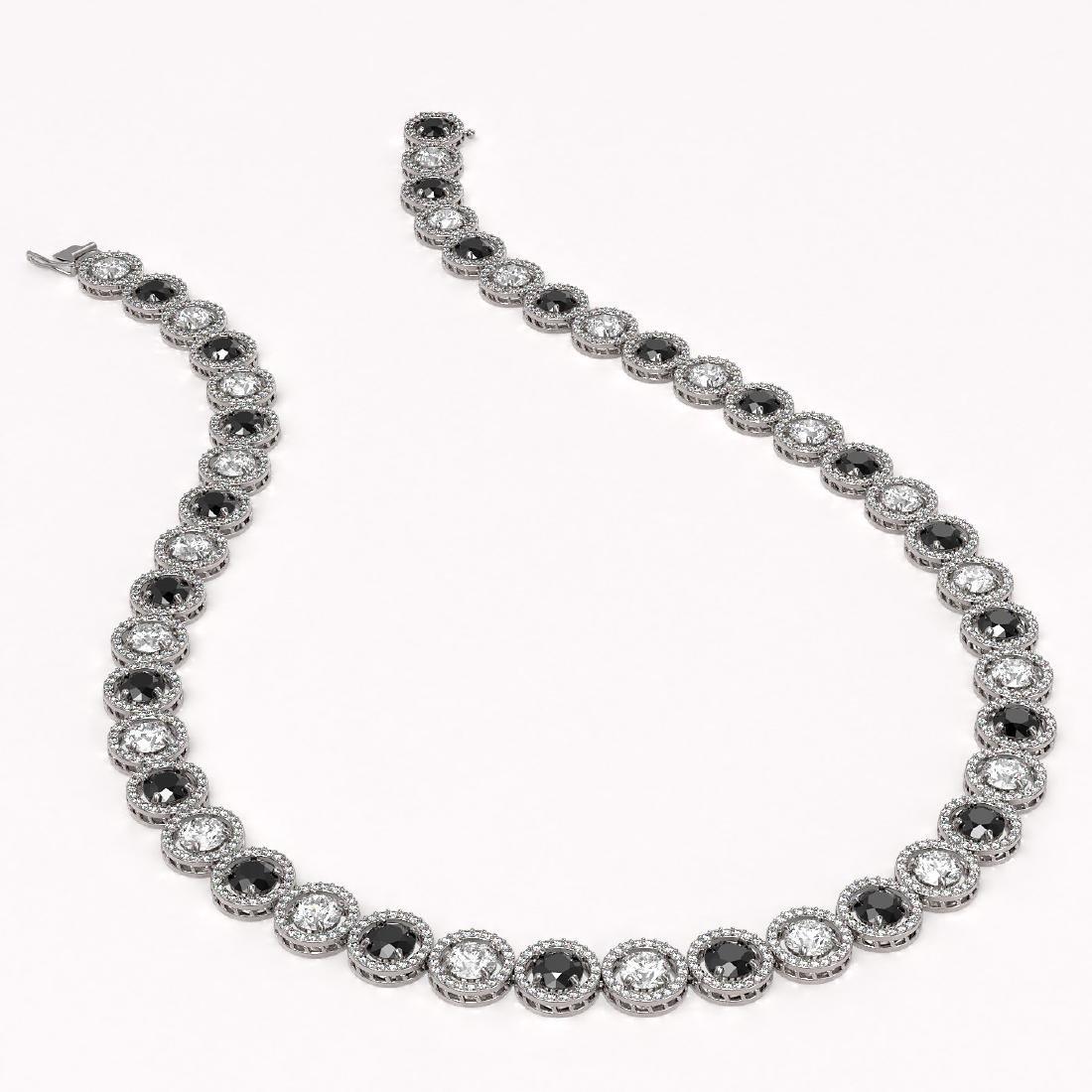 35.55 CTW Black & White Diamond Designer Necklace 18K - 2