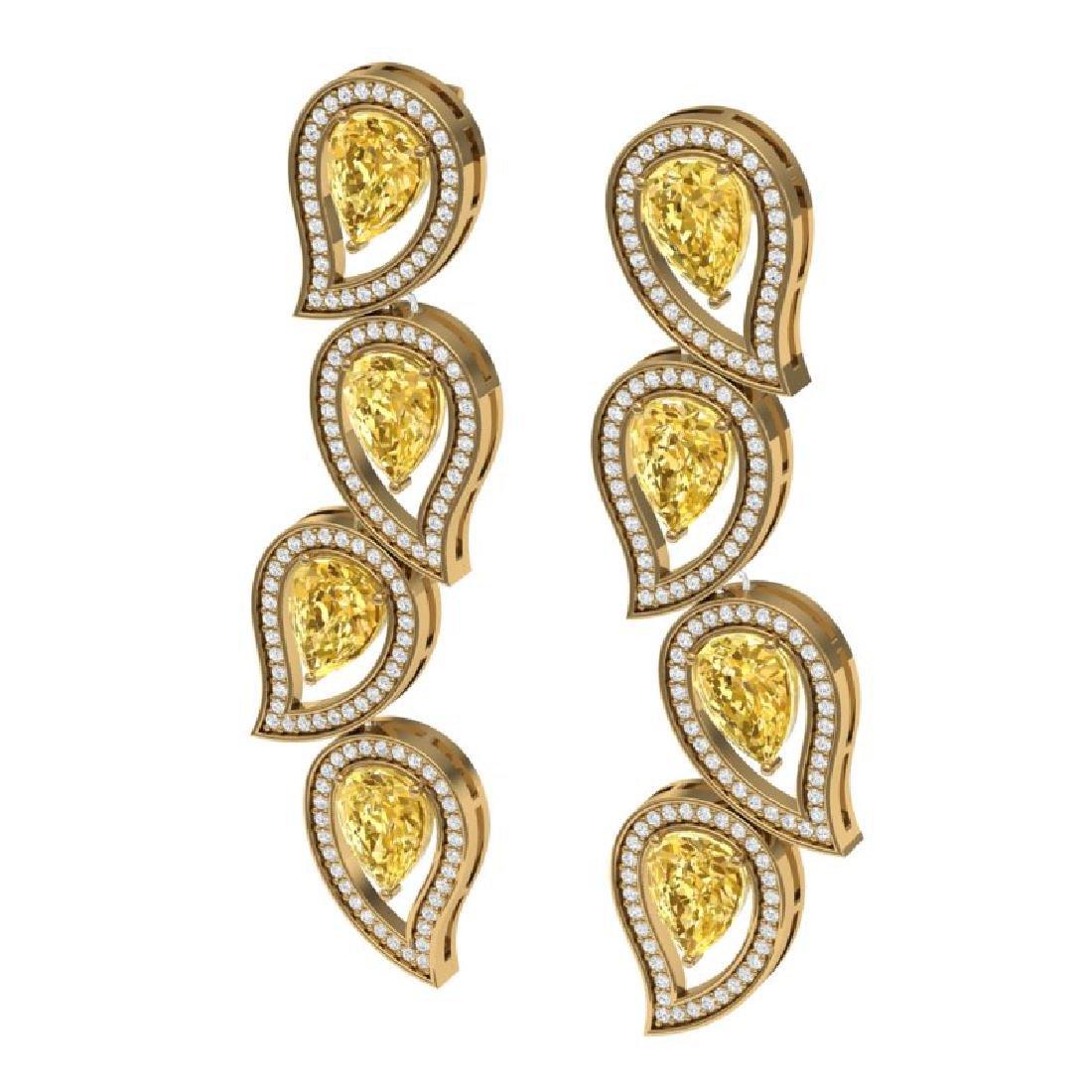 14.63 CTW Royalty Canary Citrine & VS Diamond Earrings - 2