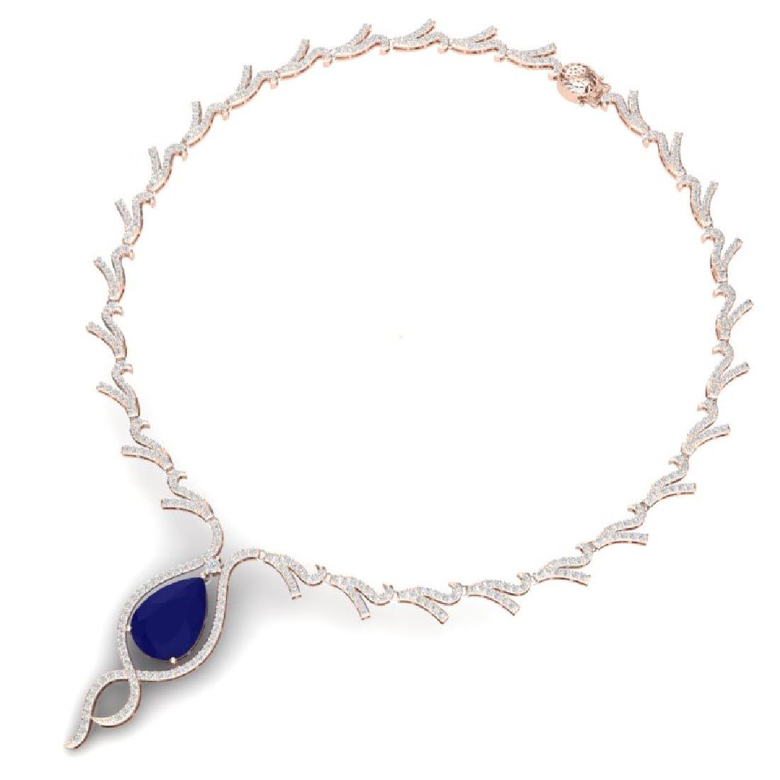 23.43 CTW Royalty Sapphire & VS Diamond Necklace 18K - 2