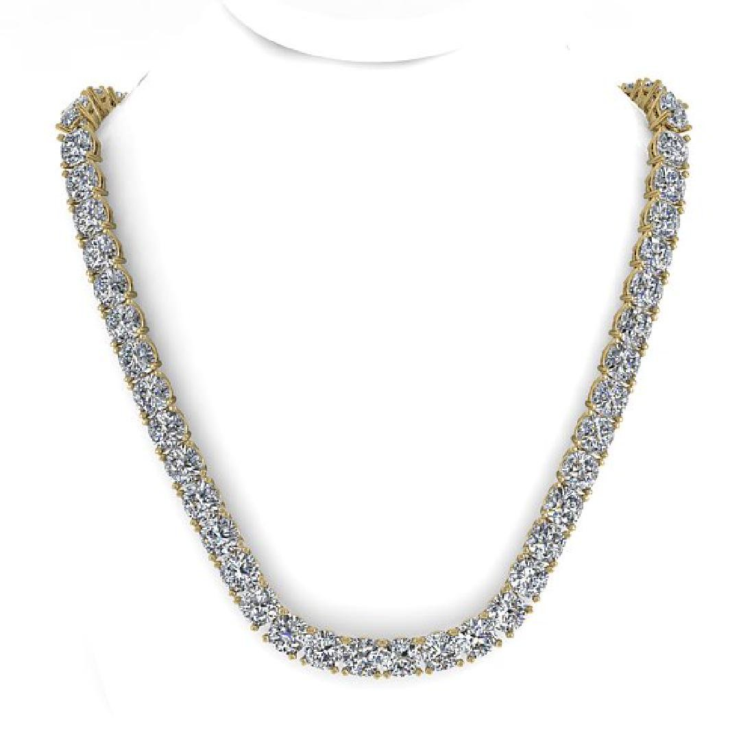 35 CTW Cushion Cut Certified SI Diamond Necklace 14K - 2