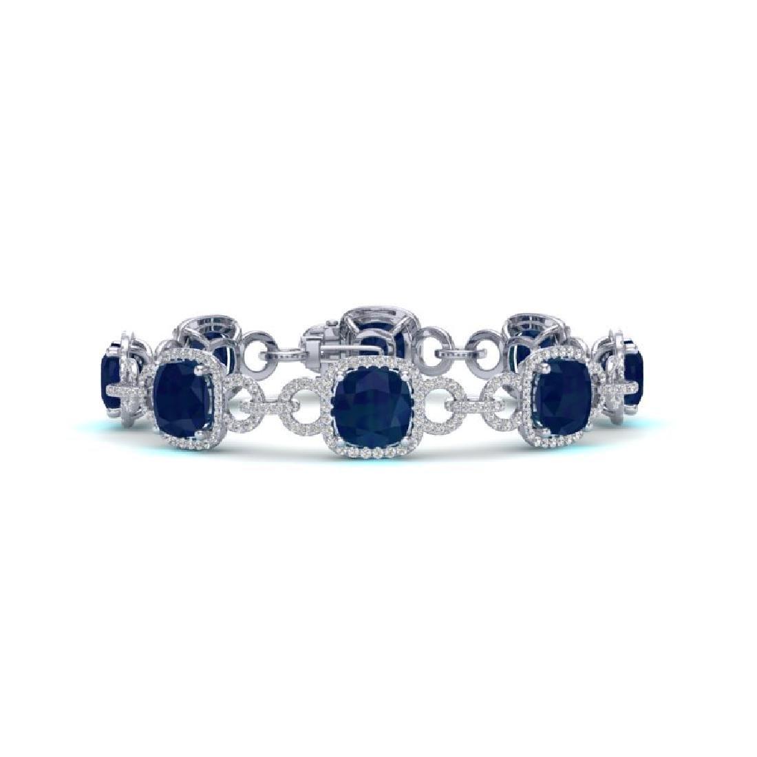 25 CTW Sapphire & VS/SI Diamond Bracelet 14K White Gold