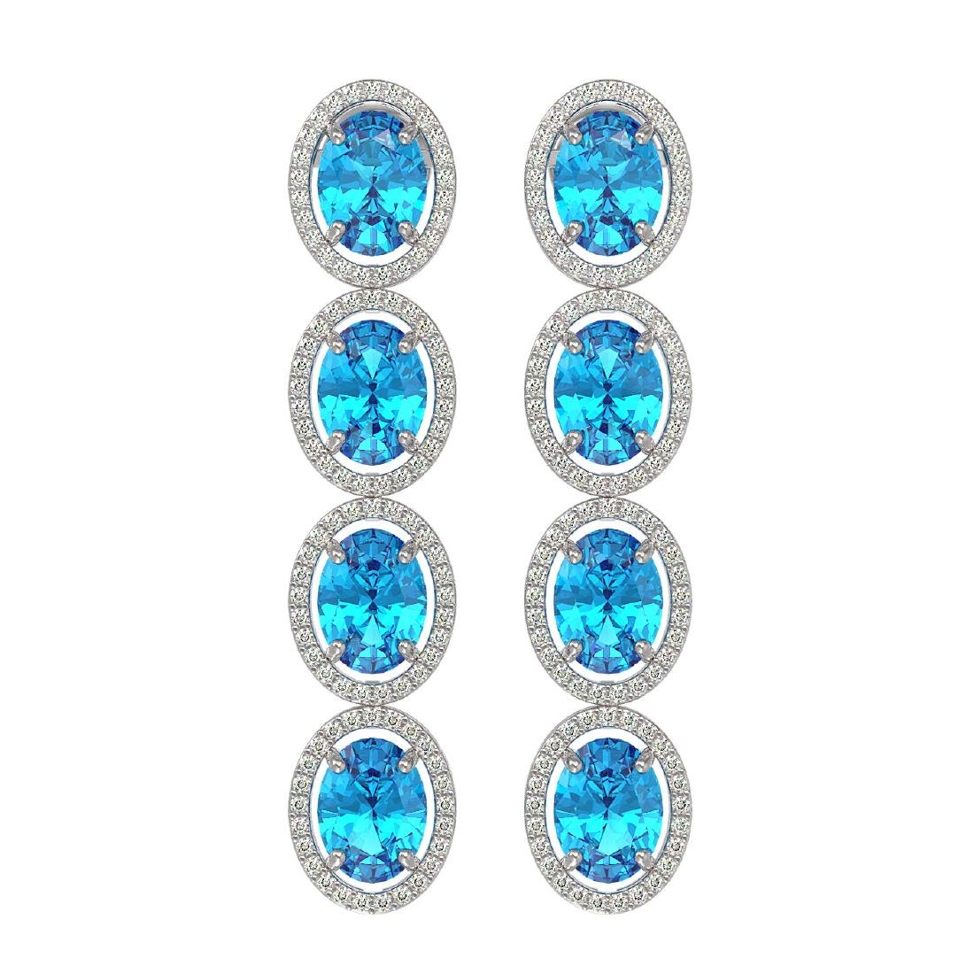 14.76 CTW Swiss Topaz & Diamond Halo Earrings 10K White