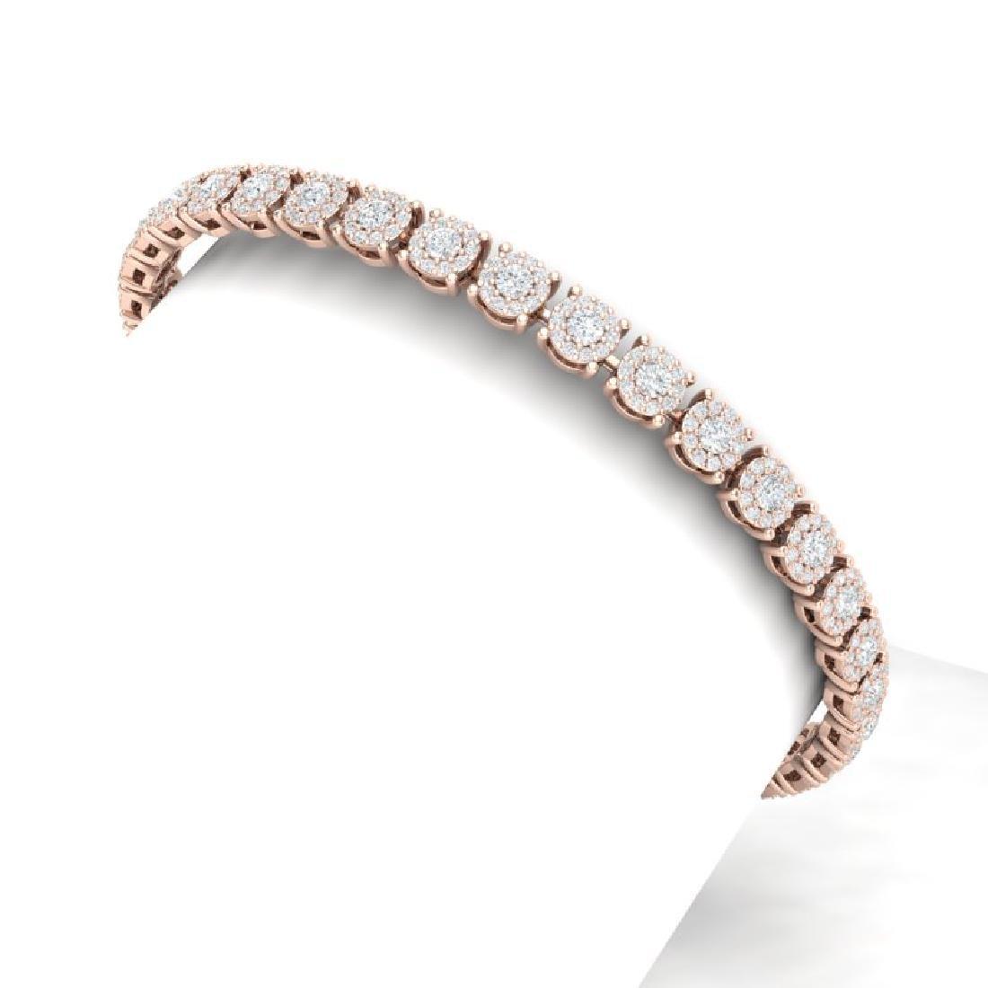 5 CTW Certified SI/I Diamond Halo Bracelet 18K Rose