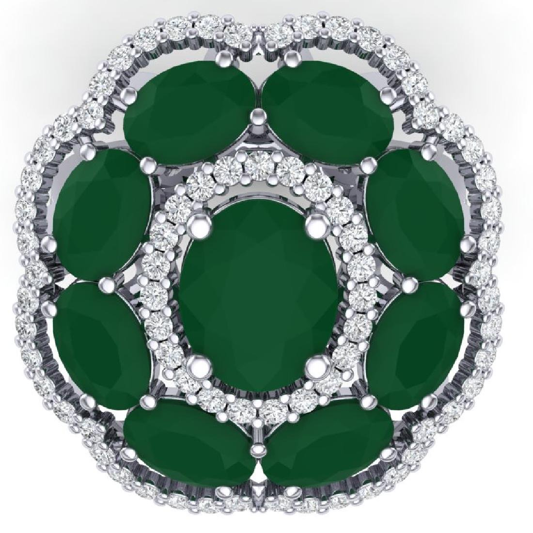 14.4 CTW Royalty Designer Emerald & VS Diamond Ring 18K - 2