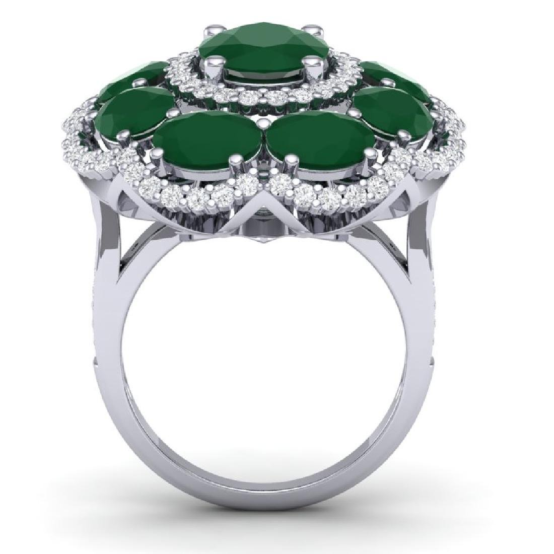 14.4 CTW Royalty Designer Emerald & VS Diamond Ring 18K - 3
