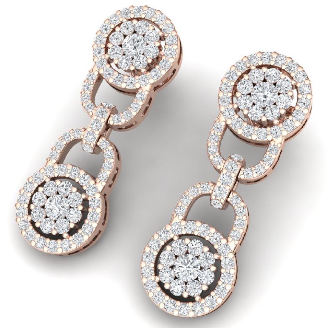 2.30 CTW Certified SI/I Diamond Halo Earrings 18K Rose