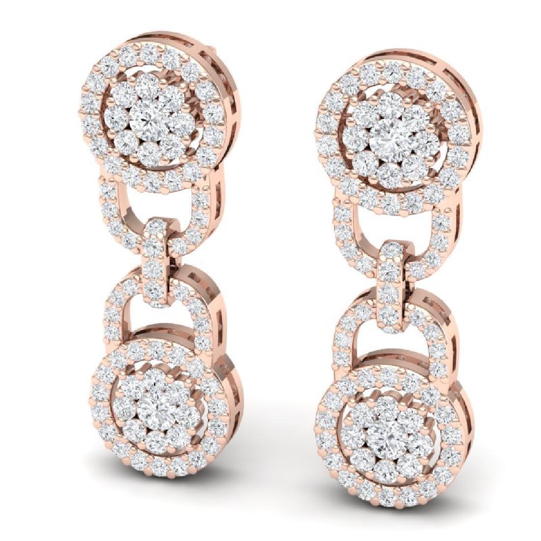 2.30 CTW Certified SI/I Diamond Halo Earrings 18K Rose - 2