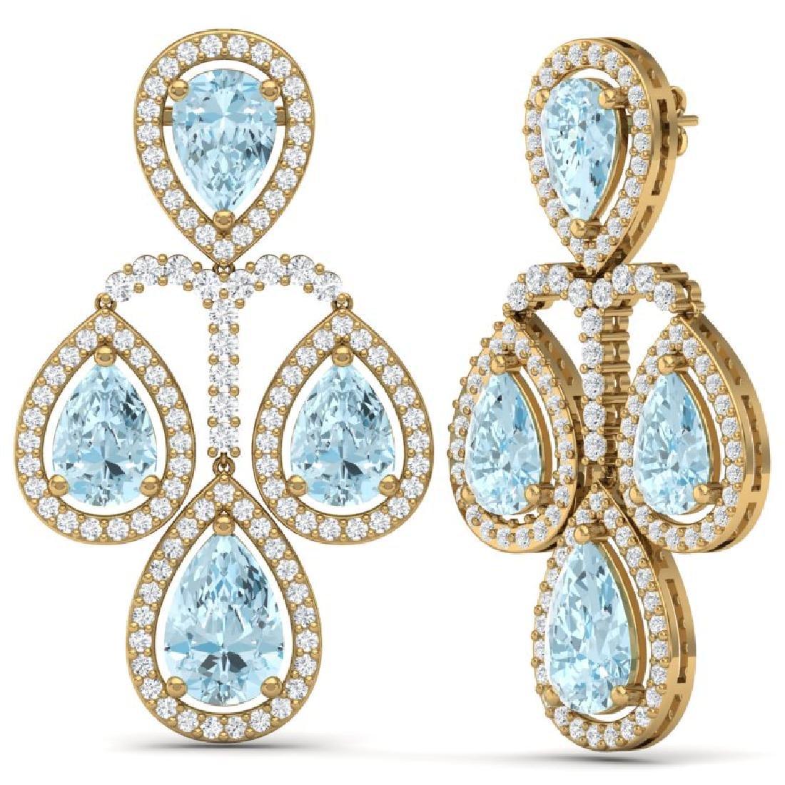 30.54 CTW Royalty Sky Topaz & VS Diamond Earrings 18K