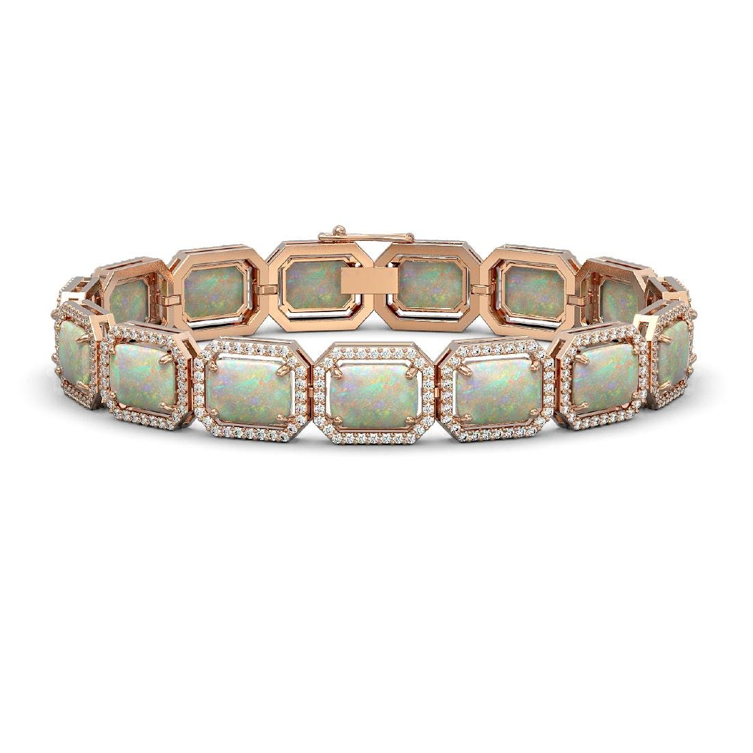 24.37 CTW Opal & Diamond Halo Bracelet 10K Rose Gold