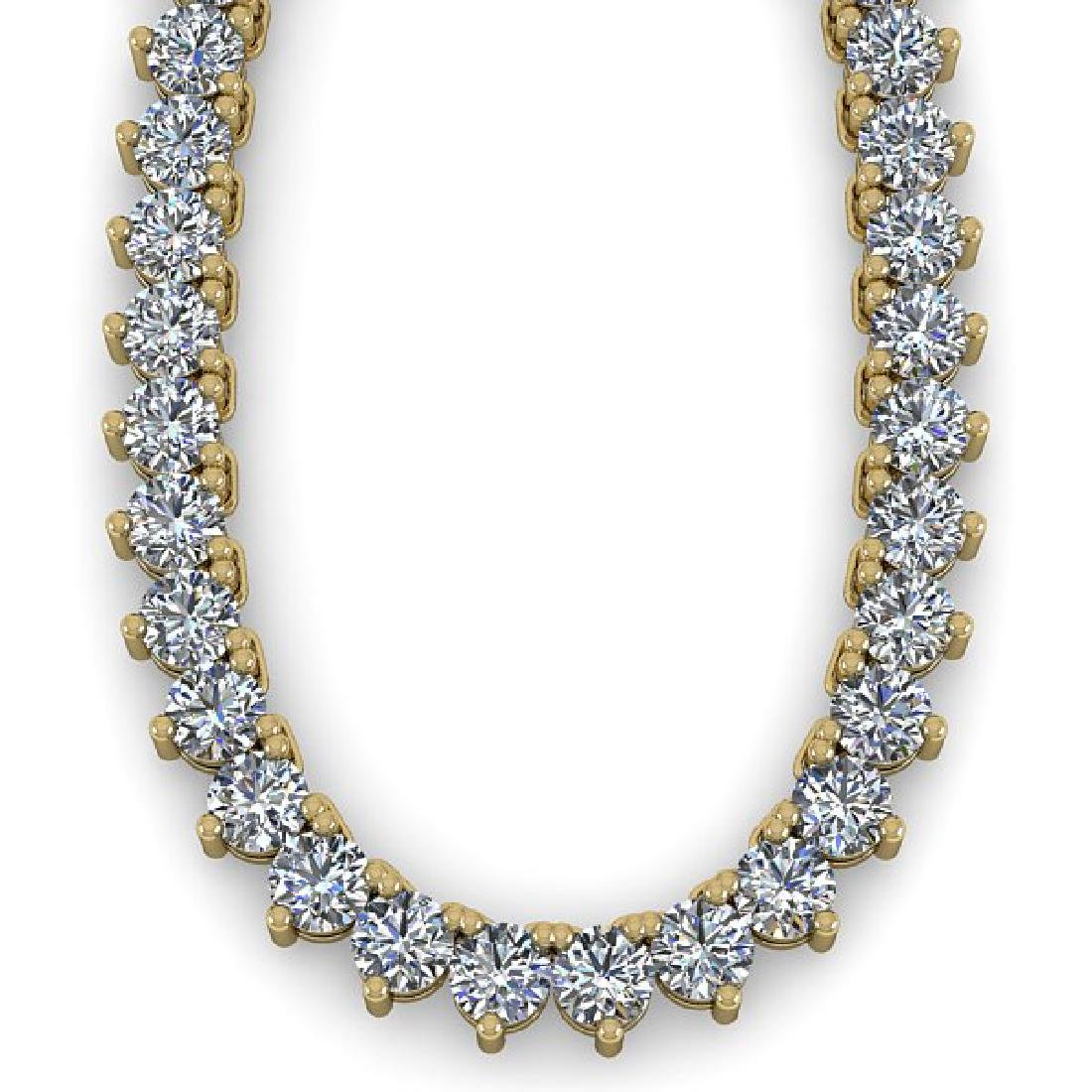 38 CTW Solitaire SI Diamond Necklace 18K Yellow Gold - 2