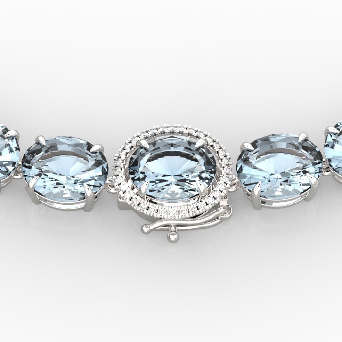 136 CTW Aquamarine & VS/SI Diamond Necklace 14K White