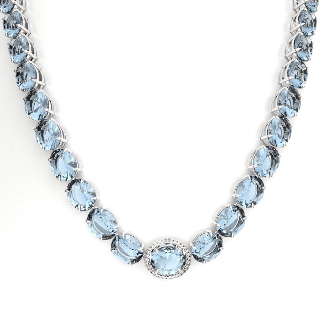 136 CTW Aquamarine & VS/SI Diamond Necklace 14K White - 2