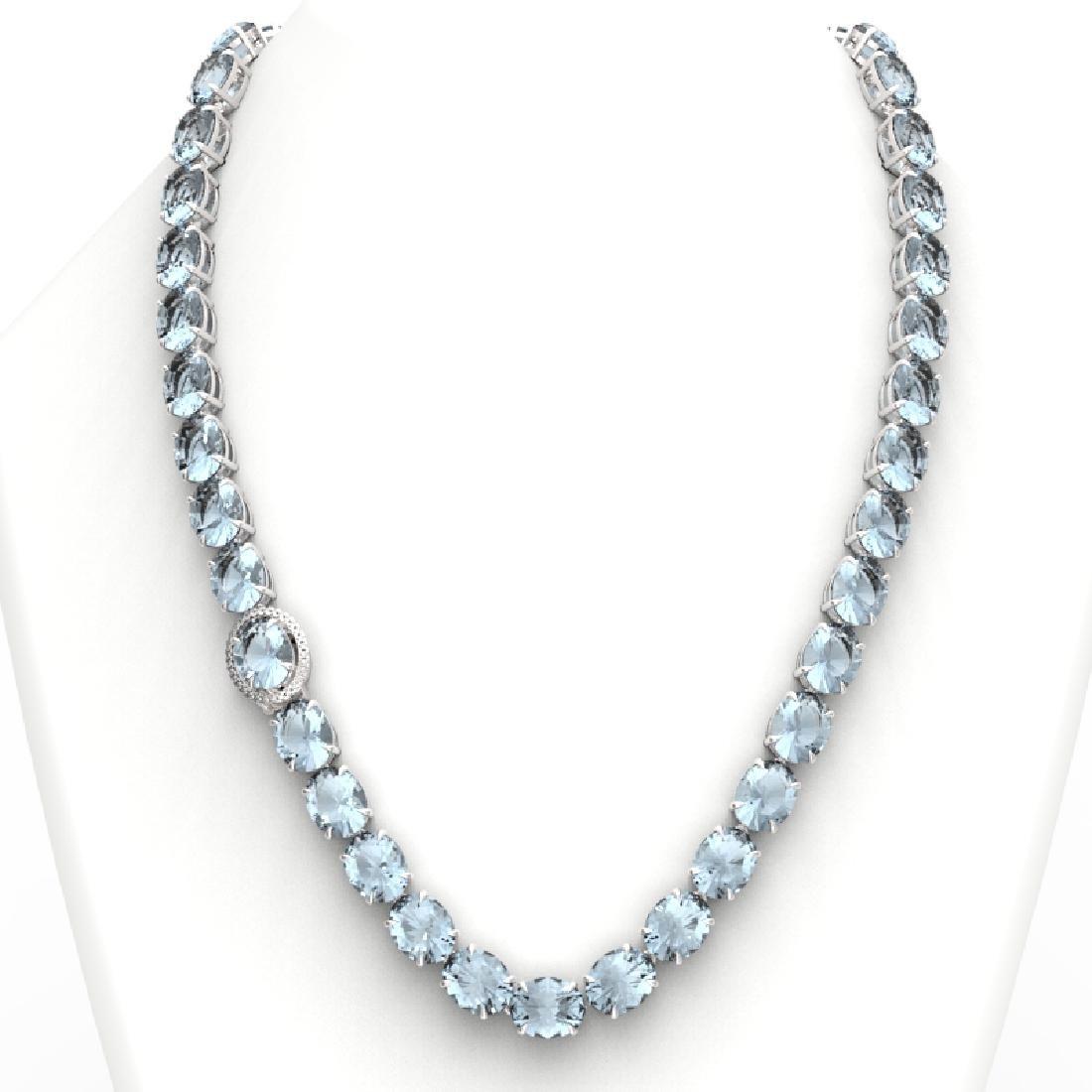 136 CTW Aquamarine & VS/SI Diamond Necklace 14K White - 3