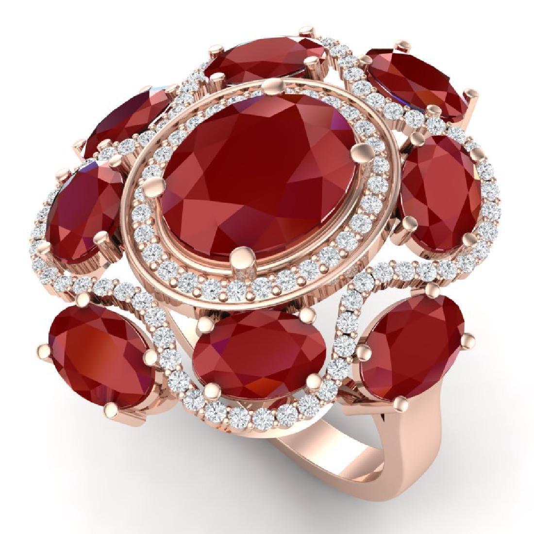 9.86 CTW Royalty Designer Ruby & VS Diamond Ring 18K