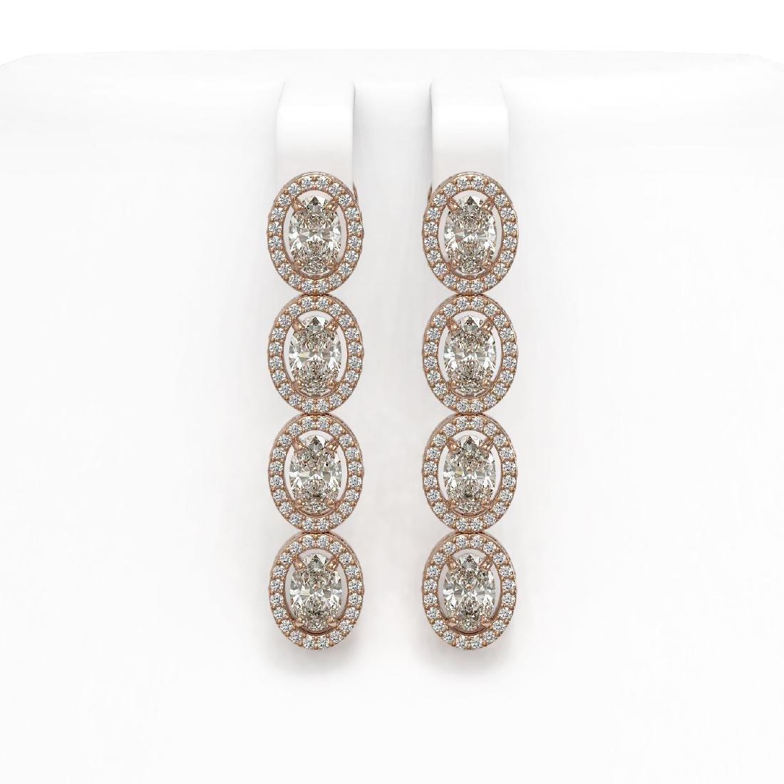 6.08 CTW Oval Diamond Designer Earrings 18K Rose Gold