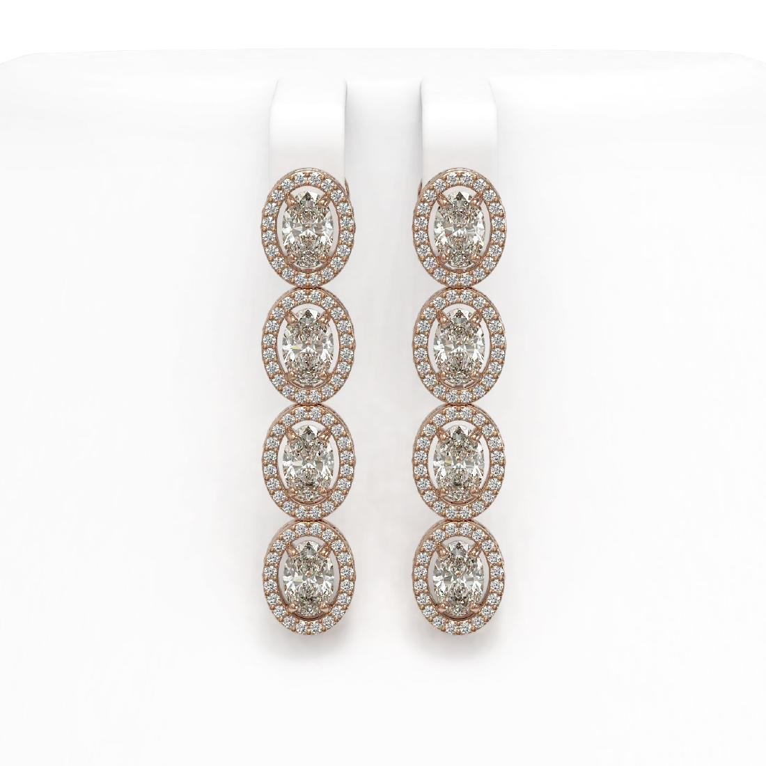 6.08 CTW Oval Diamond Designer Earrings 18K Rose Gold