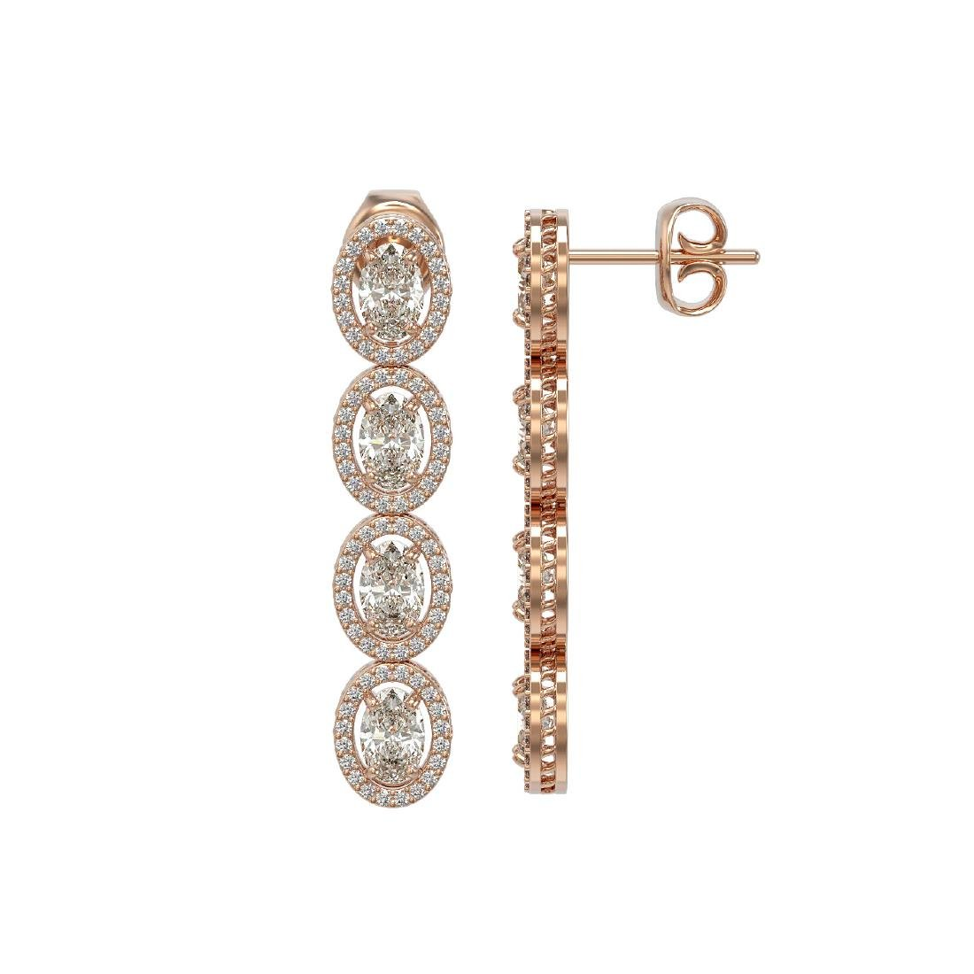 6.08 CTW Oval Diamond Designer Earrings 18K Rose Gold - 2