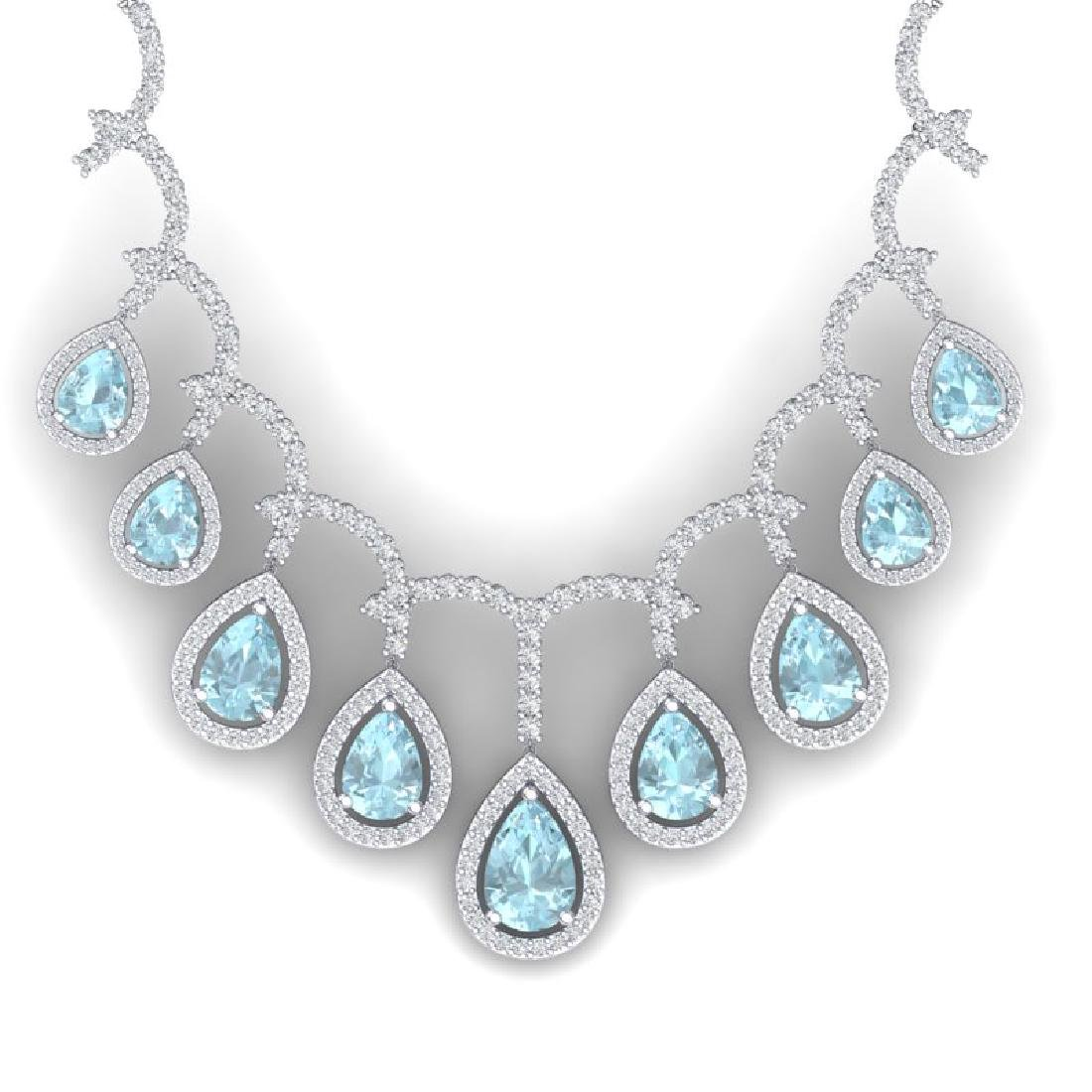 32.62 CTW Royalty Sky Topaz & VS Diamond Necklace 18K