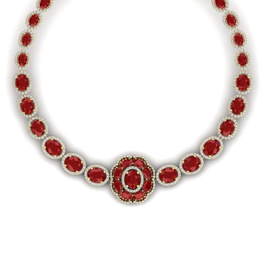58.33 CTW Royalty Ruby & VS Diamond Necklace 18K Yellow - 2
