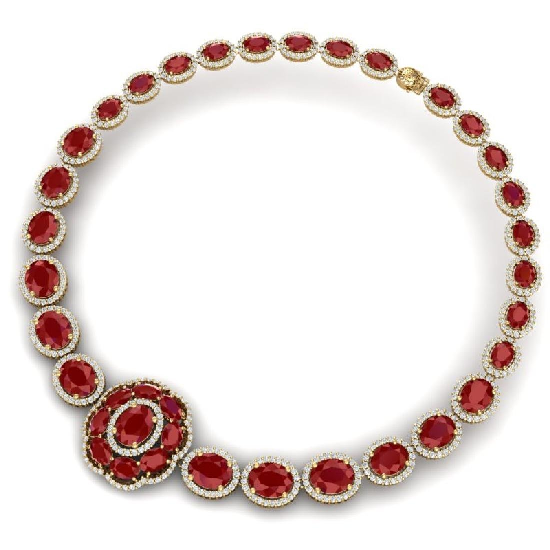 58.33 CTW Royalty Ruby & VS Diamond Necklace 18K Yellow - 3