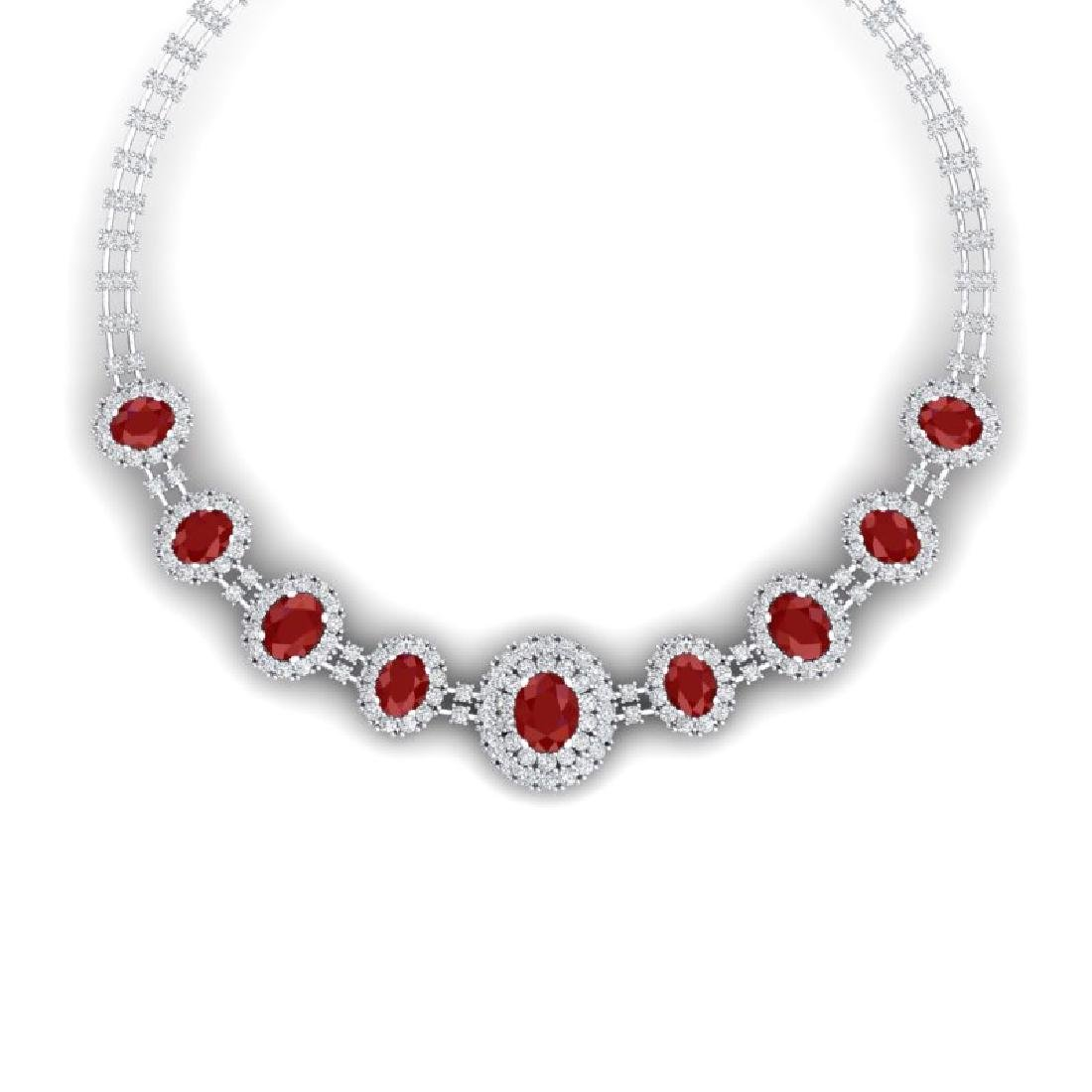 45.69 CTW Royalty Ruby & VS Diamond Necklace 18K White