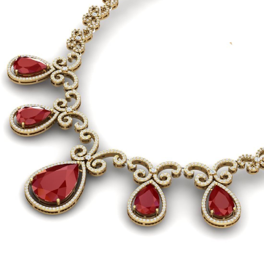 38.42 CTW Royalty Ruby & VS Diamond Necklace 18K Yellow