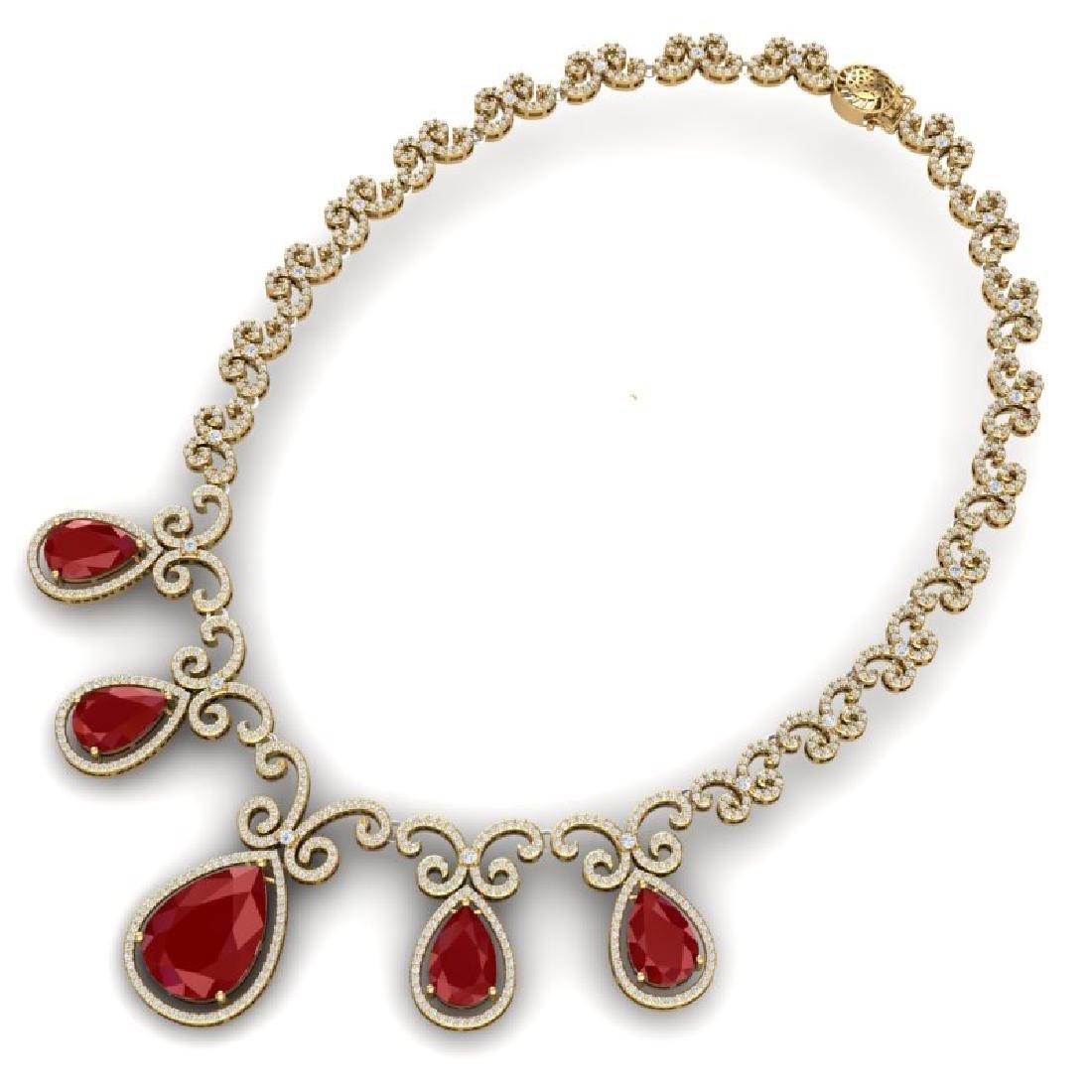 38.42 CTW Royalty Ruby & VS Diamond Necklace 18K Yellow - 2