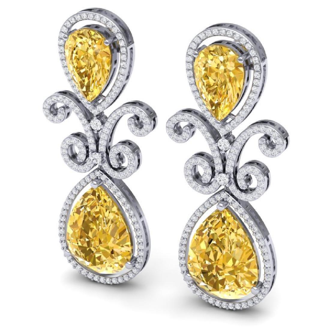 27.31 CTW Royalty Canary Citrine & VS Diamond Earrings