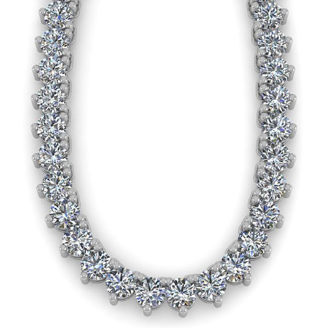 38 CTW Solitaire SI Diamond Necklace 14K White Gold - 2