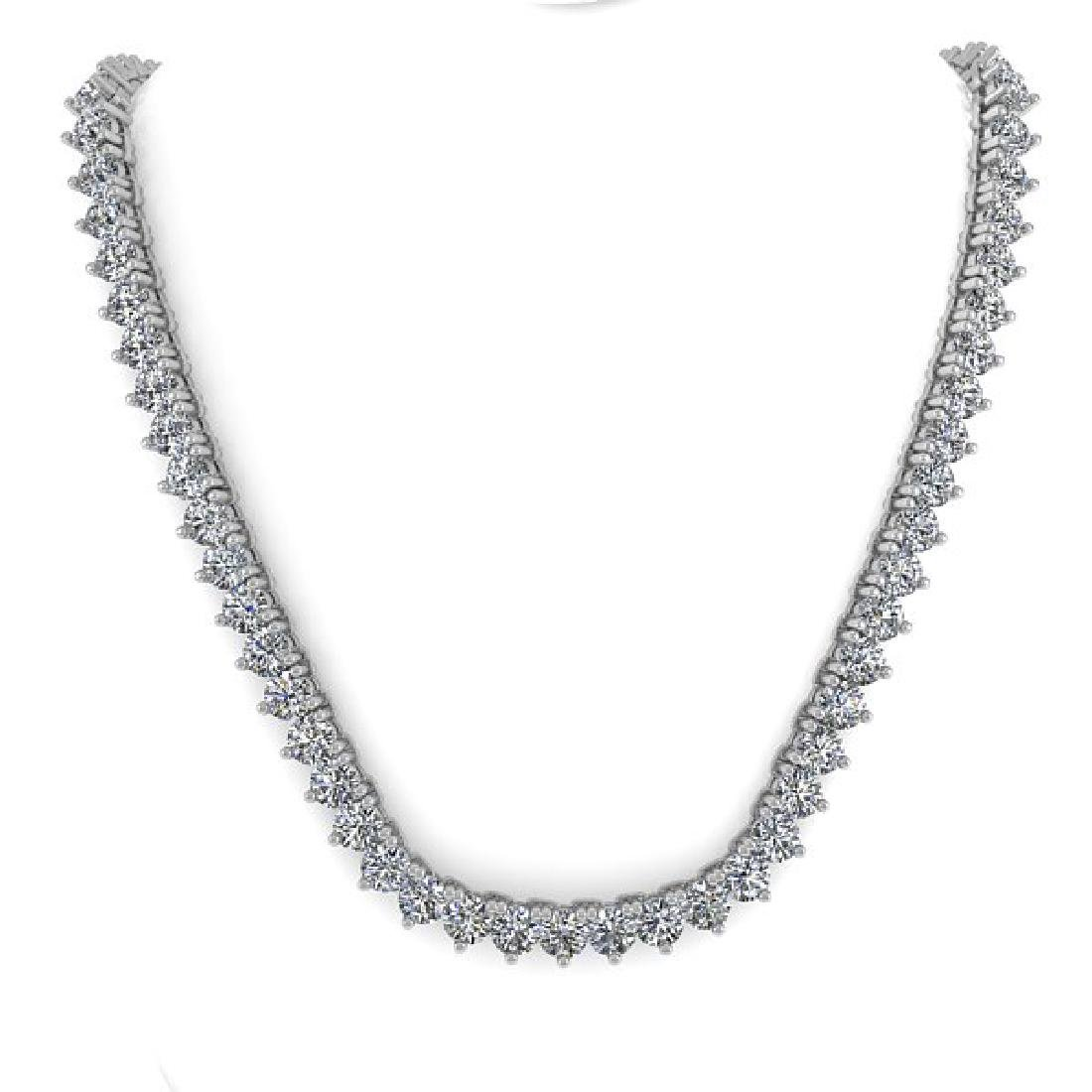 38 CTW Solitaire SI Diamond Necklace 14K White Gold - 3