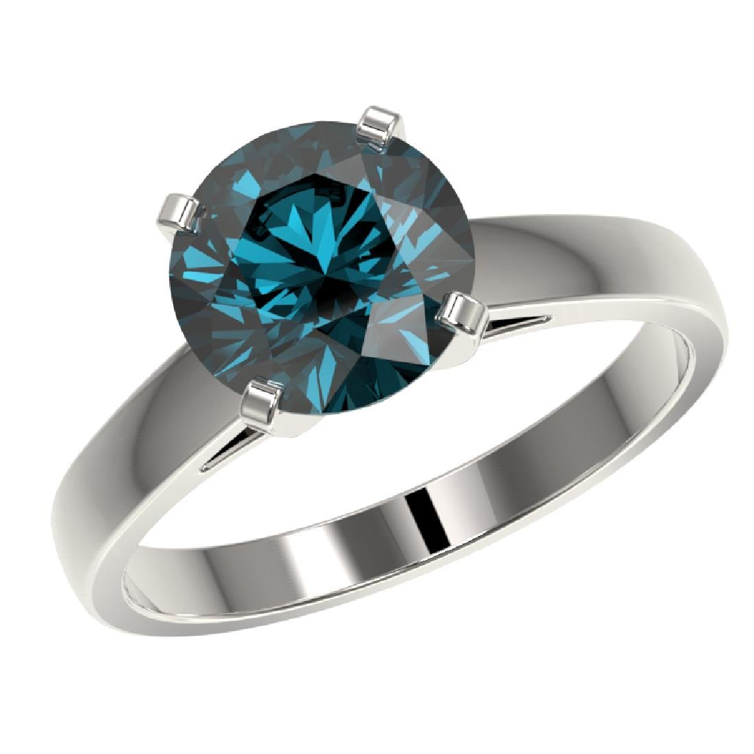 2.50 CTW Certified Fancy Blue SI Diamond Solitaire Ring - 2