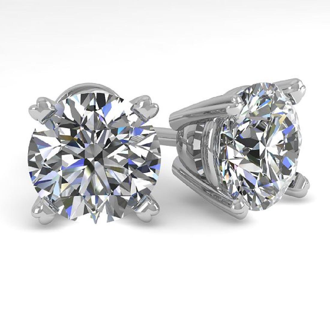 3 CTW Certified VS/SI Diamond Stud Earrings 14K White