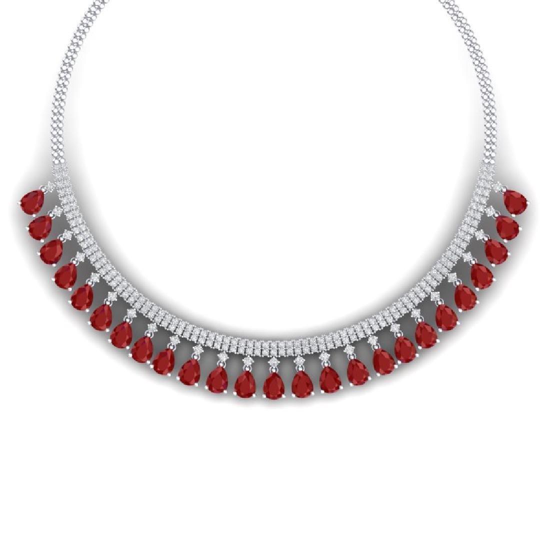 51.75 CTW Royalty Ruby & VS Diamond Necklace 18K White