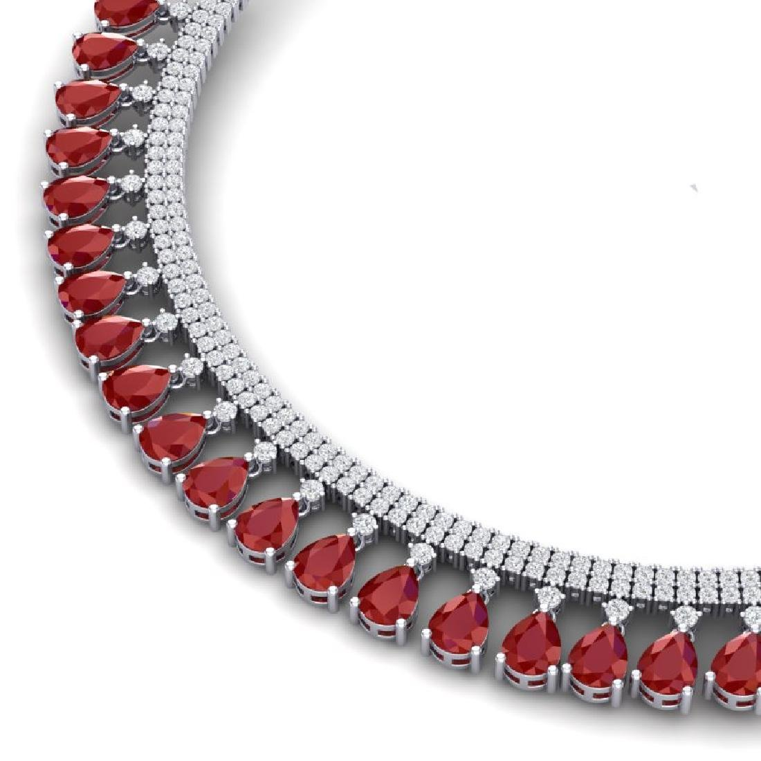 51.75 CTW Royalty Ruby & VS Diamond Necklace 18K White - 2