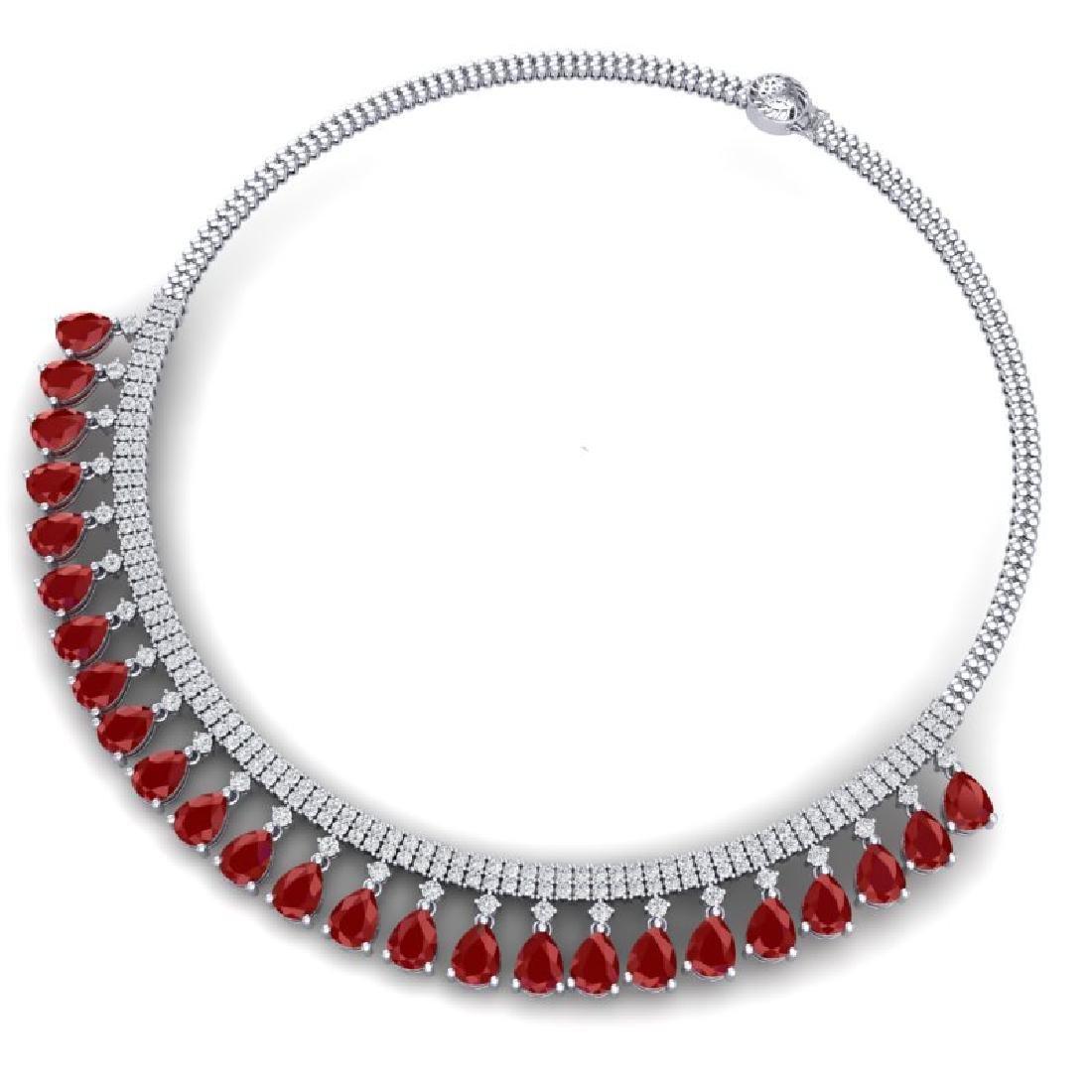 51.75 CTW Royalty Ruby & VS Diamond Necklace 18K White - 3