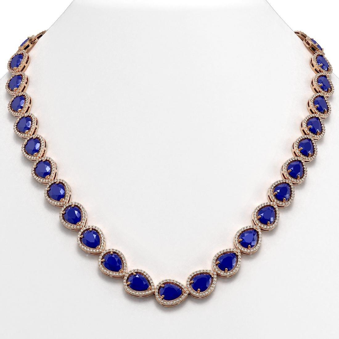 64.01 CTW Sapphire & Diamond Halo Necklace 10K Rose