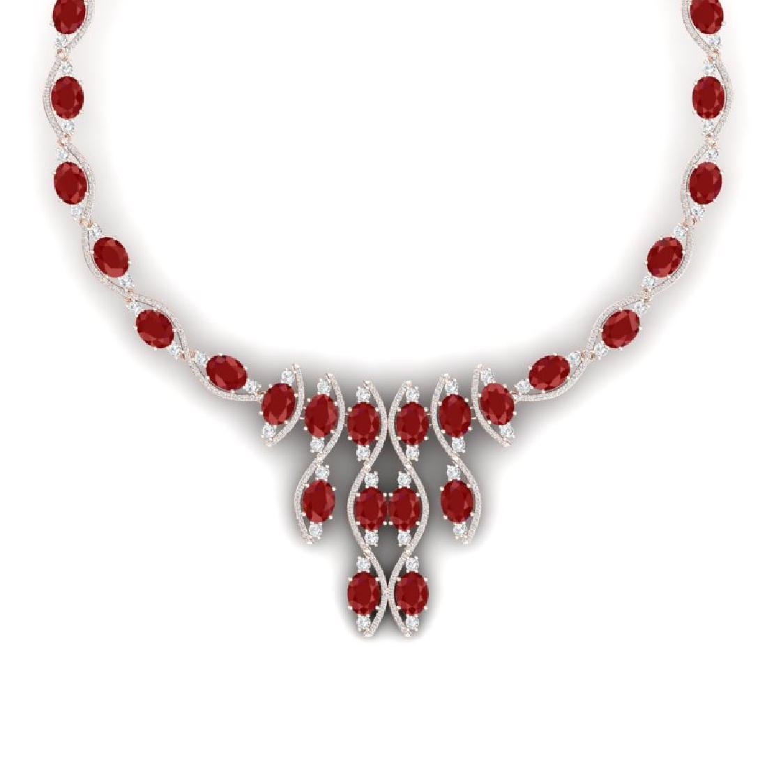 65.93 CTW Royalty Ruby & VS Diamond Necklace 18K Rose - 2