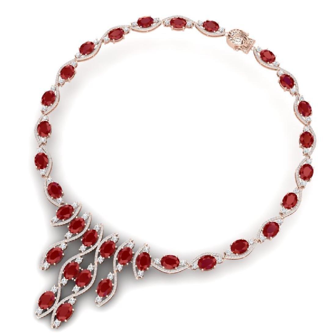 65.93 CTW Royalty Ruby & VS Diamond Necklace 18K Rose - 3