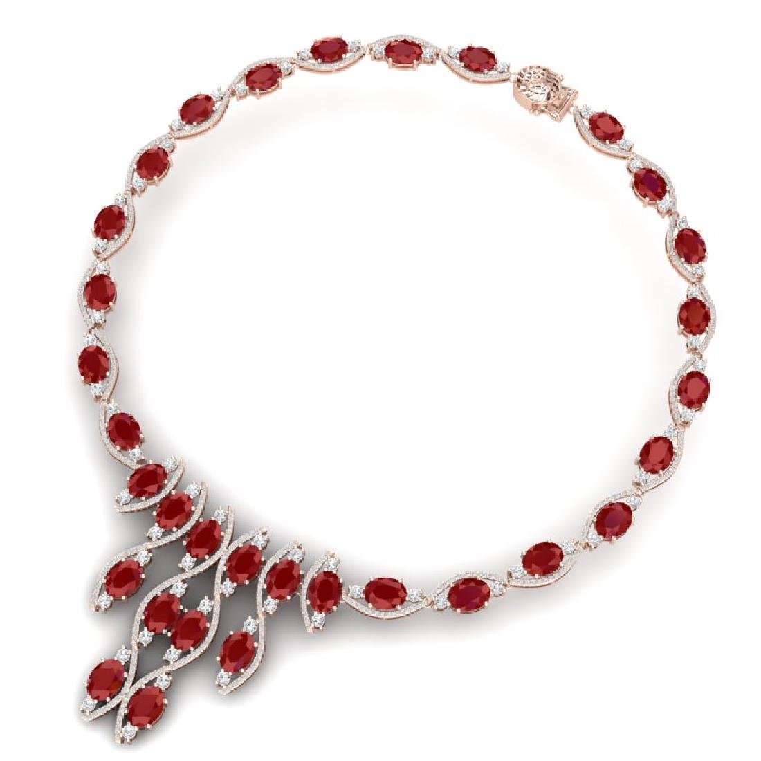 65.93 CTW Royalty Ruby & VS Diamond Necklace 18K Rose - 3